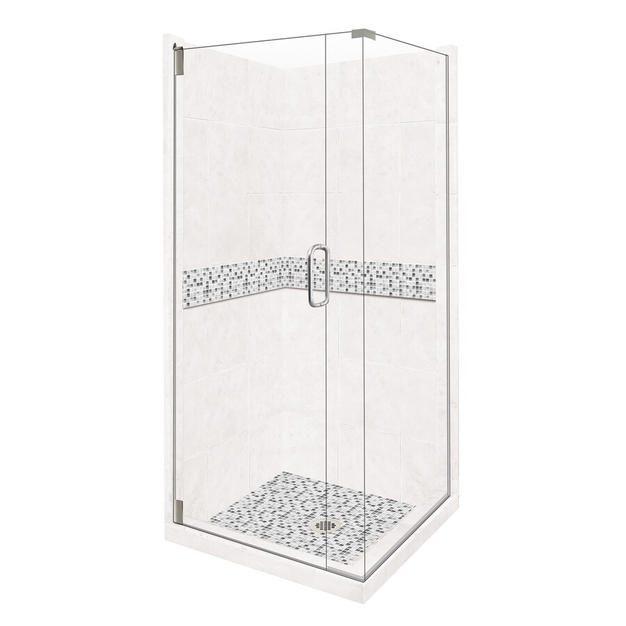 American Bath Factory Laguna Light with Accent Fiberglass and Plastic Wall Stone Composite Floor Square 14-Piece Corner Shower Kit (Actual: 80-in x 42-in x 42-in)