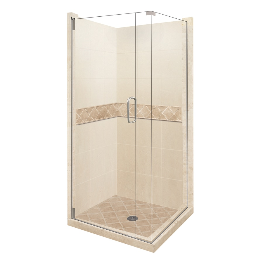 American Bath Factory Flagstaff Medium with Dark Accent Sistine Stone Wall and Stone Composite Floor Square 14-Piece Corner Shower Kit (Actual: 80-in x 42-in x 42-in)