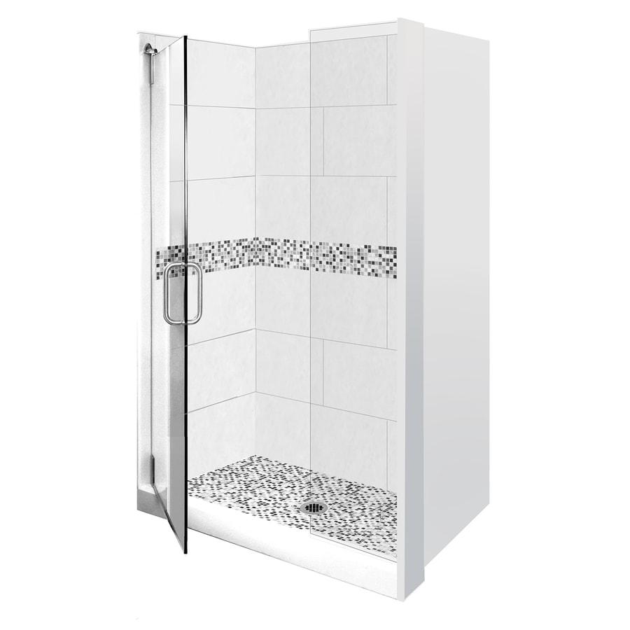 American Bath Factory Laguna Fiberglass/Plastic Composite Wall Fiberglass/Plastic Composite Floor 16-Piece Alcove Shower Kit (Common: 32-in x 60-in; Actual: 80-in x 32-in x 60-in)