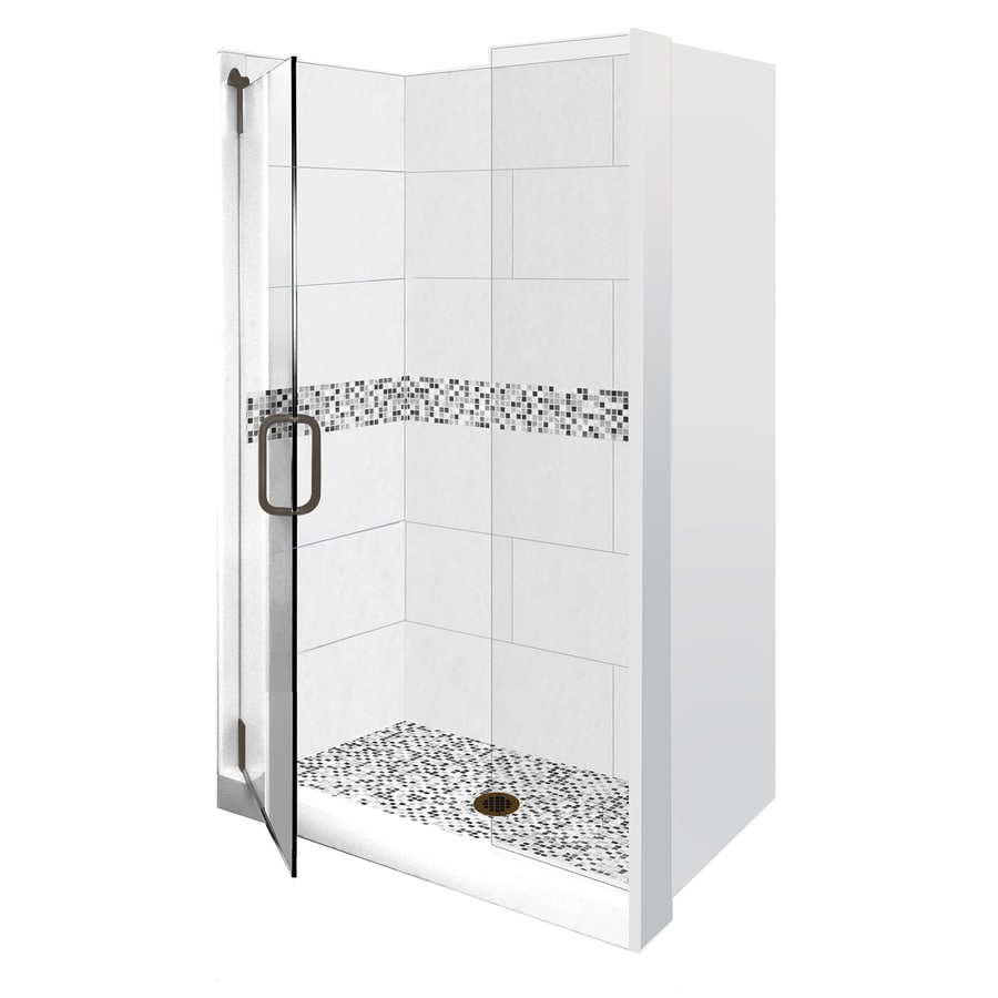 American Bath Factory Laguna Light with Laguna Mosaic Accent Compostie Wall and Floor 16-Piece Alcove Shower Kit (Common: 32-in x 60-in; Actual: 80-in x 32-in x 60-in)