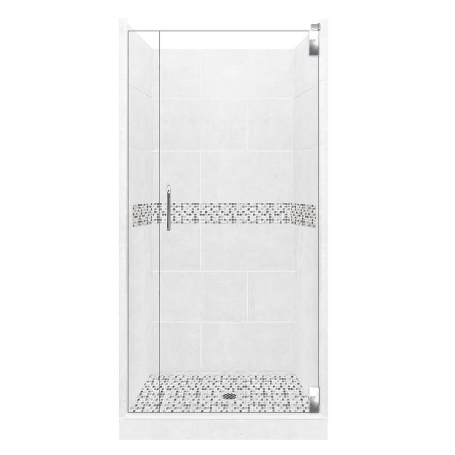 American Bath Factory Laguna Light with Laguna Mosaic Tiles Solid Surface Wall Stone Composite Floor 12-Piece Alcove Shower Kit (Common: 32-in x 36-in; Actual: 80-in X
