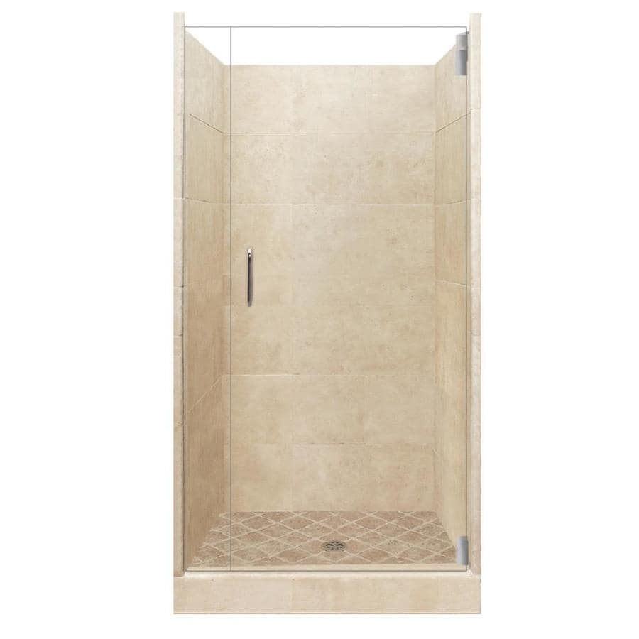 American Bath Factory Sonoma Medium Solid Surface Wall Stone Composite Floor 12-Piece Alcove Shower Kit (Common: 36-in x 36-in; Actual: 80-in X