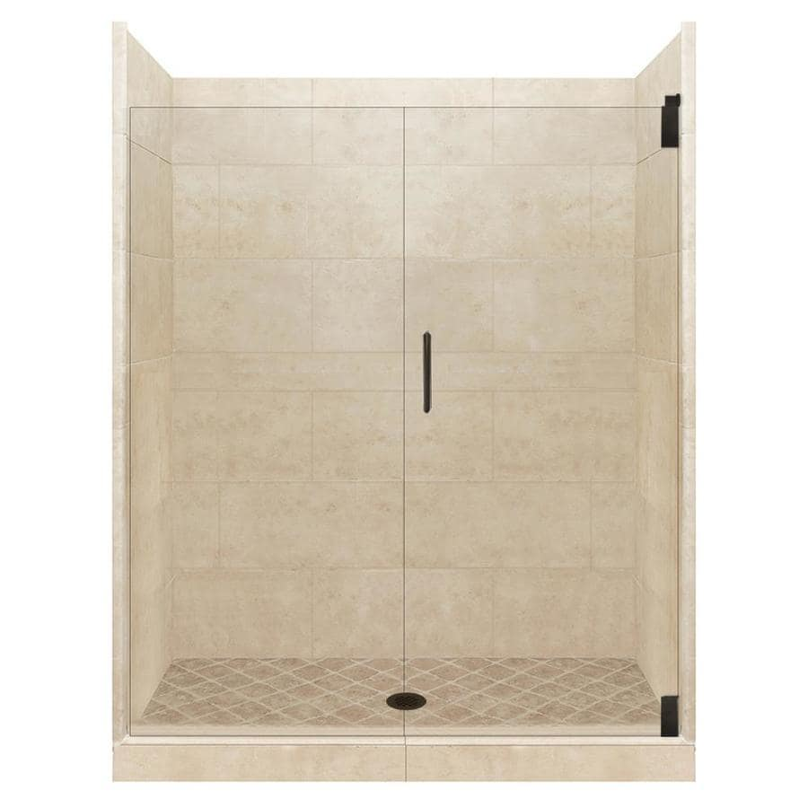 American Bath Factory Sonoma Medium Solid Surface Wall Stone Composite Floor 12-Piece Alcove Shower Kit (Common: 32-in x 36-in; Actual: 80-in x 32-in x 36-in)