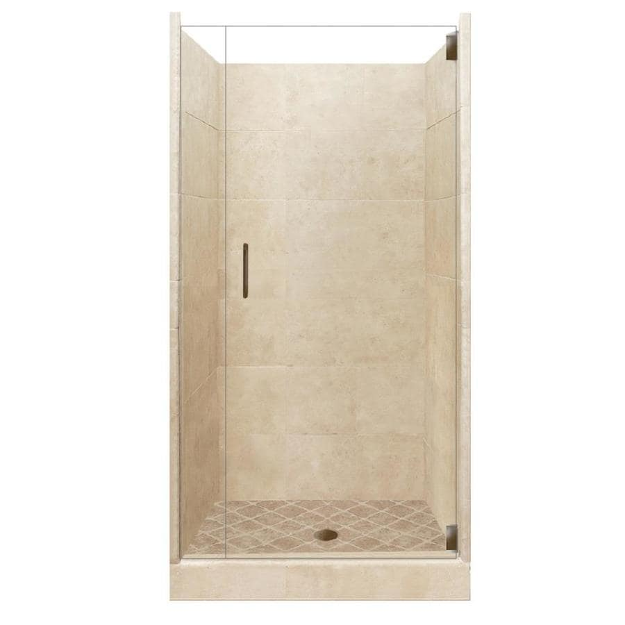 American Bath Factory Sonoma Medium Solid Surface Wall Stone Composite Floor 12-Piece Alcove Shower Kit (Common: 36-in x 36-in; Actual: 80-in x 36-in x 36-in)