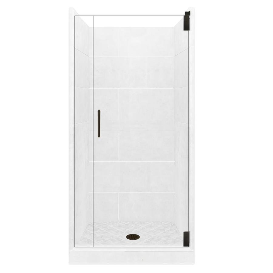 American Bath Factory Monterey Light Solid Surface Wall Stone Composite Floor 12-Piece Alcove Shower Kit (Common: 36-in x 36-in; Actual: 80-in X
