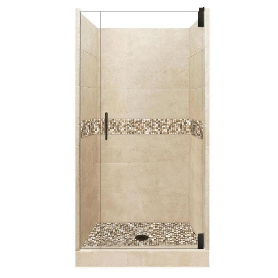 American Bath Factory Mesa Medium with Mesa Mosaic Tiles Solid Surface Wall Stone Composite Floor 12-Piece Alcove Shower Kit (Common: 36-in x 36-in; Actual: 80-in X