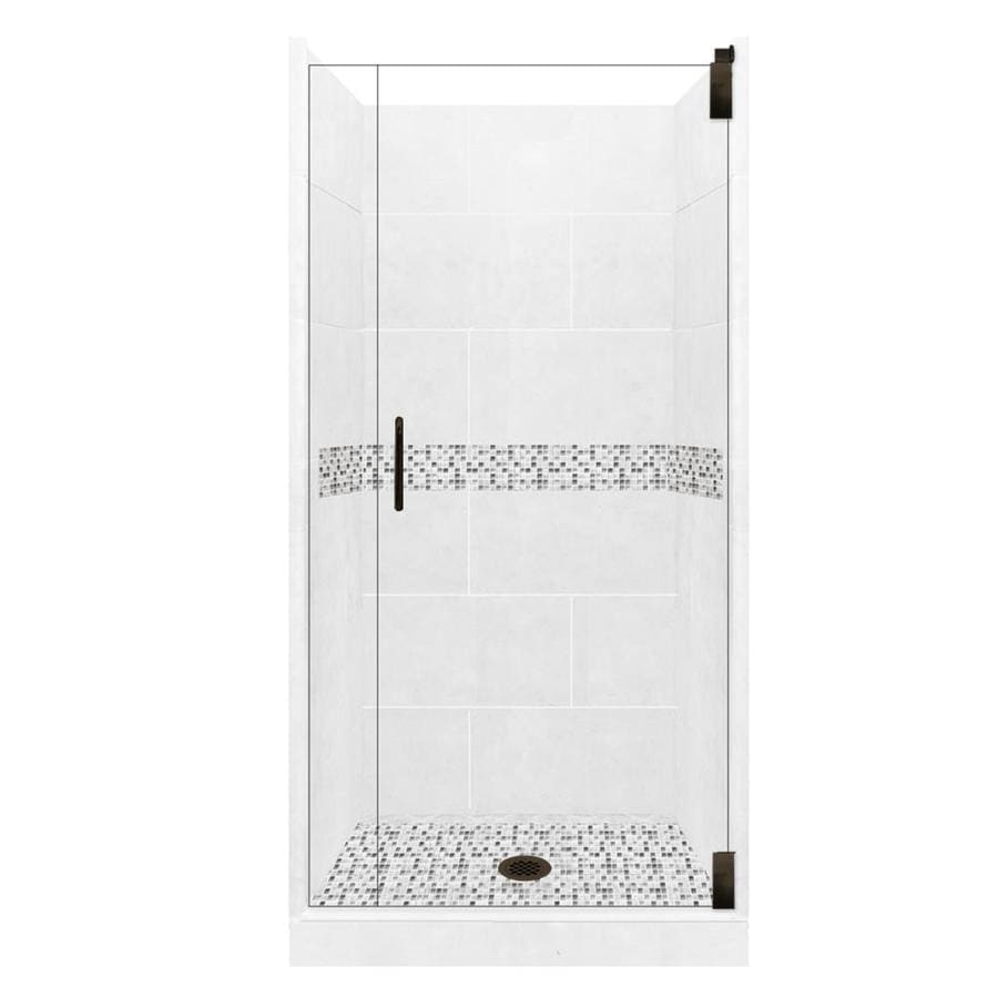 American Bath Factory Laguna Light with Laguna Mosaic Tiles Solid Surface Wall Stone Composite Floor 12-Piece Alcove Shower Kit (Common: 36-in x 36-in; Actual: 80-in X