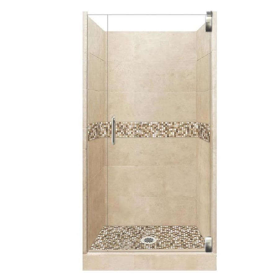 American Bath Factory Mesa Solid Surface Wall Stone Composite Floor 12-Piece Alcove Shower Kit (Common: 32-in x 36-in; Actual: 80-in x 32-in x 36-in)