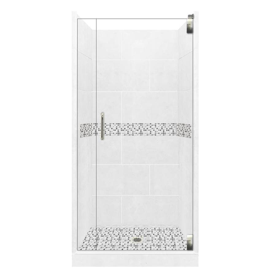 American Bath Factory Laguna Solid Surface Wall Stone Composite Floor 12-Piece Alcove Shower Kit (Common: 36-in x 36-in; Actual: 80-in x 36-in x 36-in)