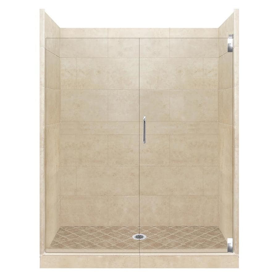 American Bath Factory Sonoma Medium Solid Surface Wall Stone Composite Floor 12-Piece Alcove Shower Kit (Common: 36-in x 42-in; Actual: 80-in x 36-in x 42-in)