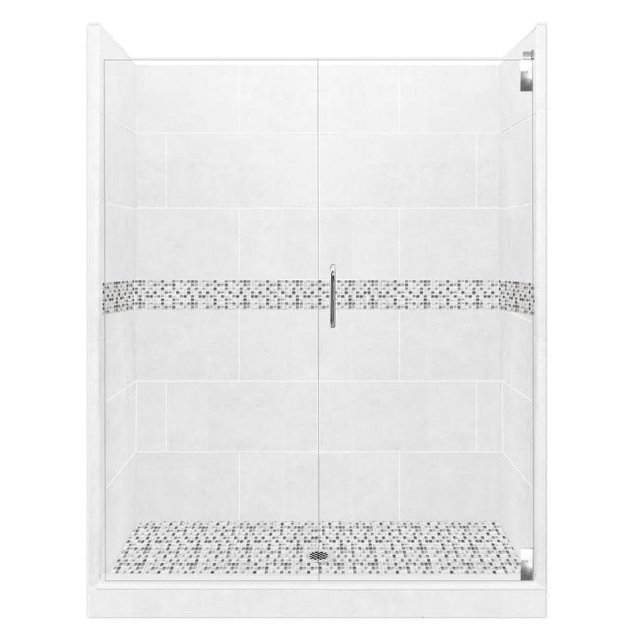 American Bath Factory Laguna Light with Laguna Mosaic Tiles Solid Surface Wall Stone Composite Floor 12-Piece Alcove Shower Kit (Common: 36-in x 42-in; Actual: 80-in X