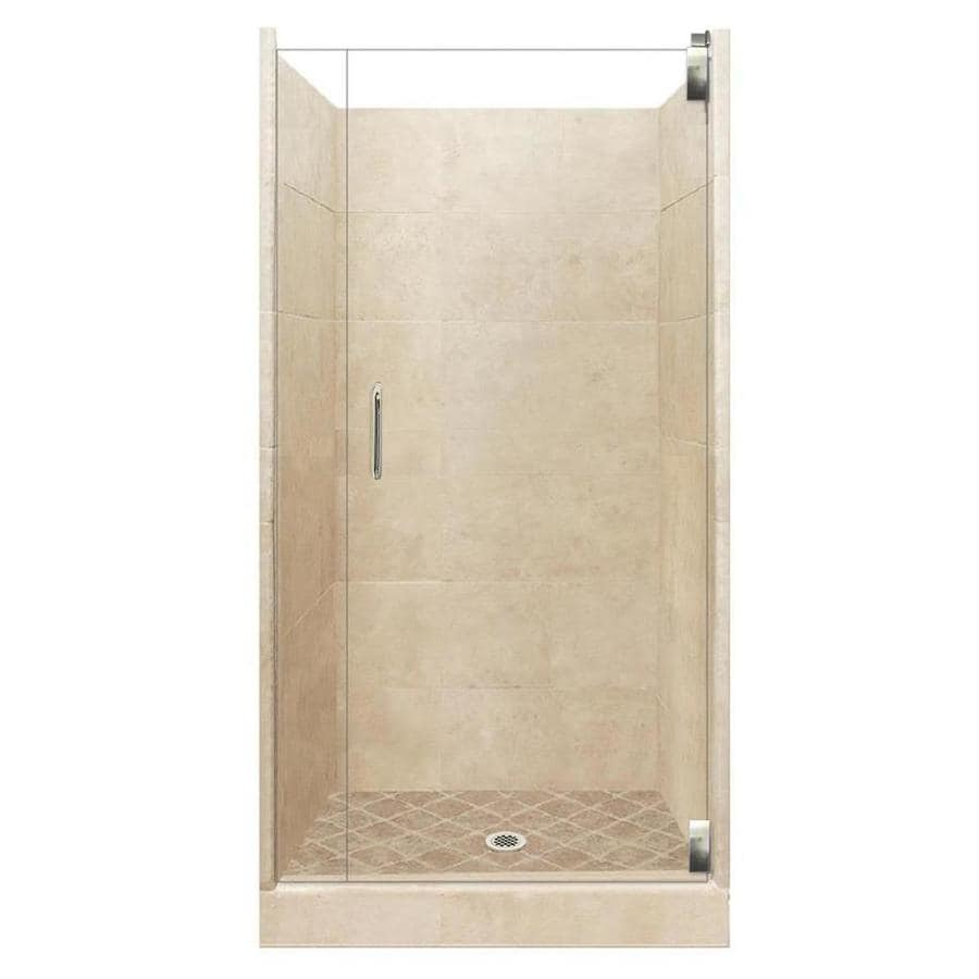 American Bath Factory Sonoma Medium Solid Surface Wall Stone Composite Floor 12-Piece Alcove Shower Kit (Common: 42-in x 42-in; Actual: 80-in X