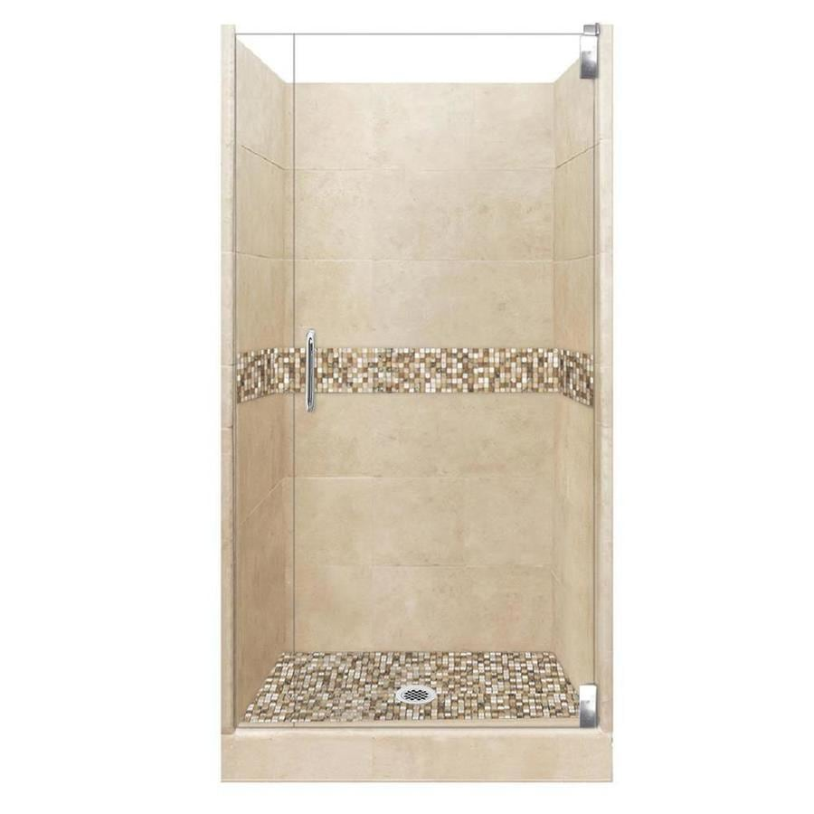 American Bath Factory Mesa Medium with Mesa Mosaic Tiles Solid Surface Wall Stone Composite Floor 12-Piece Alcove Shower Kit (Common: 42-in x 42-in; Actual: 80-in X