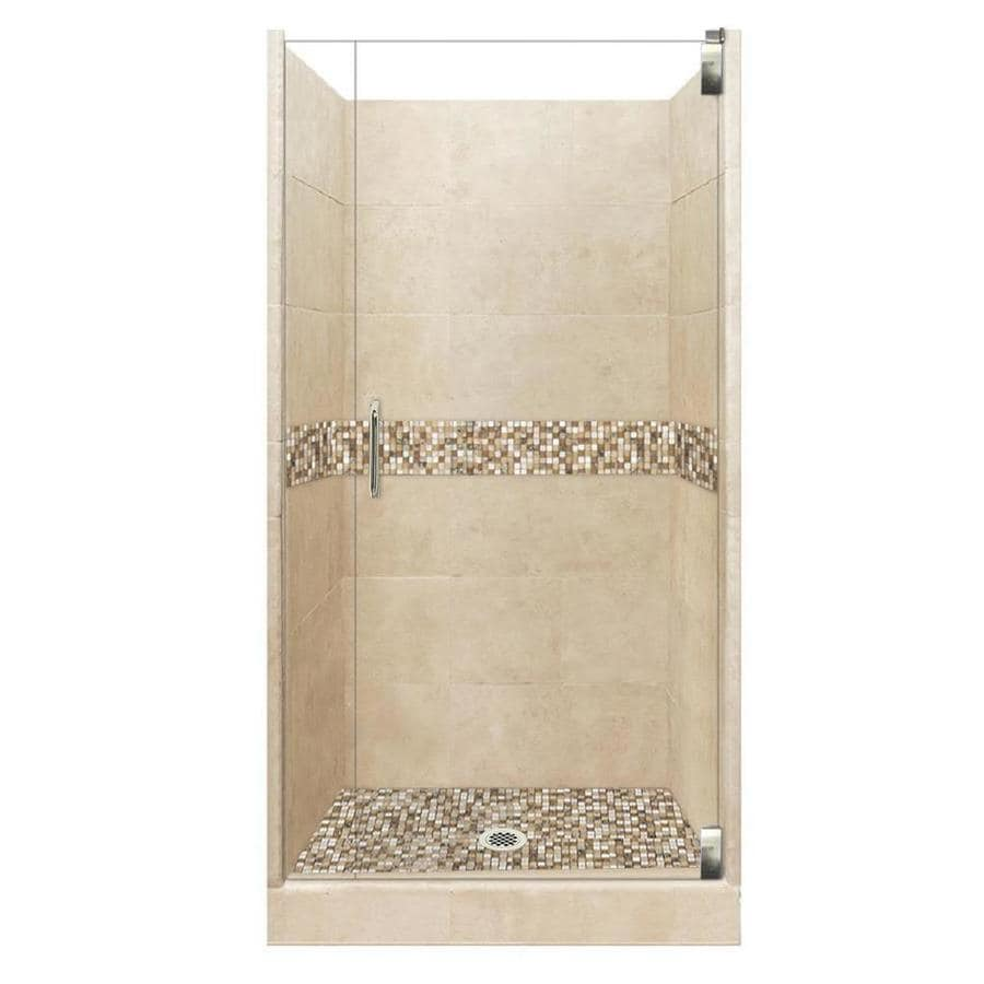 American Bath Factory Mesa Solid Surface Wall Stone Composite Floor 12-Piece Alcove Shower Kit (Common: 36-in x 42-in; Actual: 80-in x 36-in x 42-in)