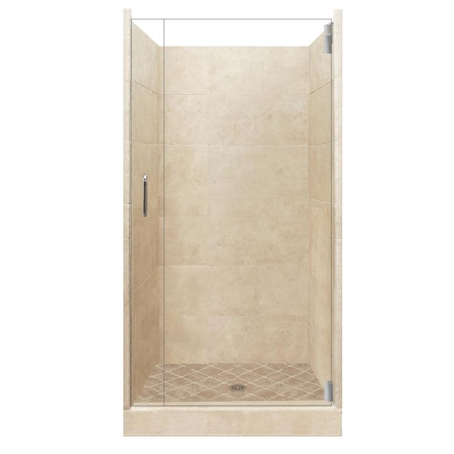 American Bath Factory Sonoma Medium Solid Surface Wall Stone Composite Floor 12-Piece Alcove Shower Kit (Common: 42-in x 42-in; Actual: 80-in x 42-in x 42-in)