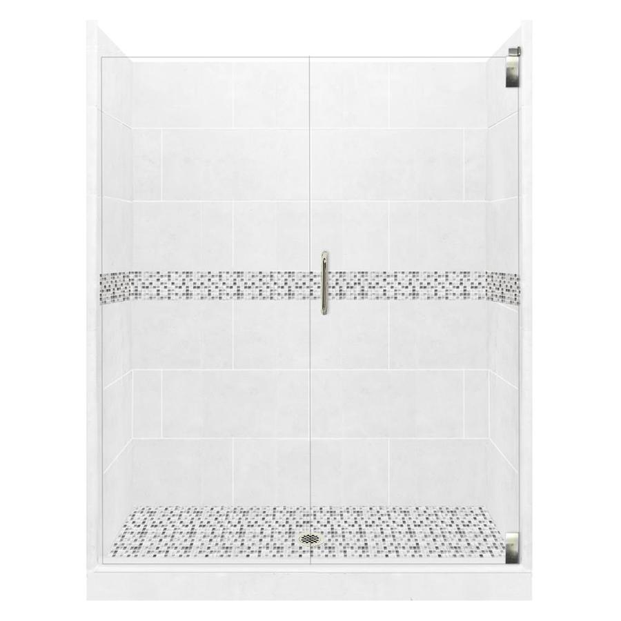 American Bath Factory Laguna Light with Laguna Mosaic Tiles Solid Surface Wall Stone Composite Floor 12-Piece Alcove Shower Kit (Common: 42-in x 42-in; Actual: 80-in X