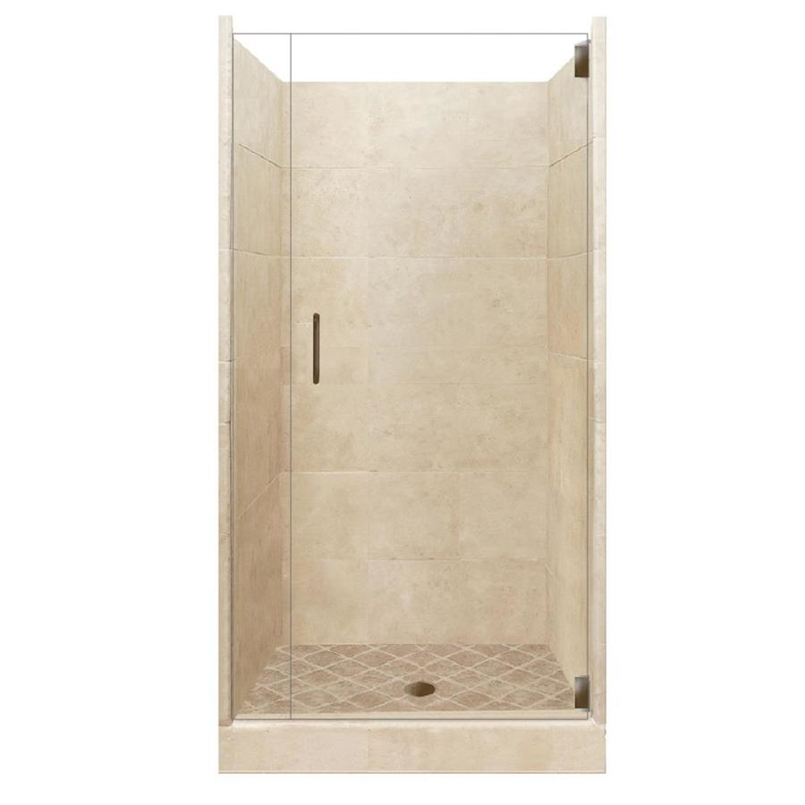 American Bath Factory Sonoma Medium Solid Surface Wall Stone Composite Floor 12-Piece Alcove Shower Kit (Common: 36-in x 48-in; Actual: 80-in X