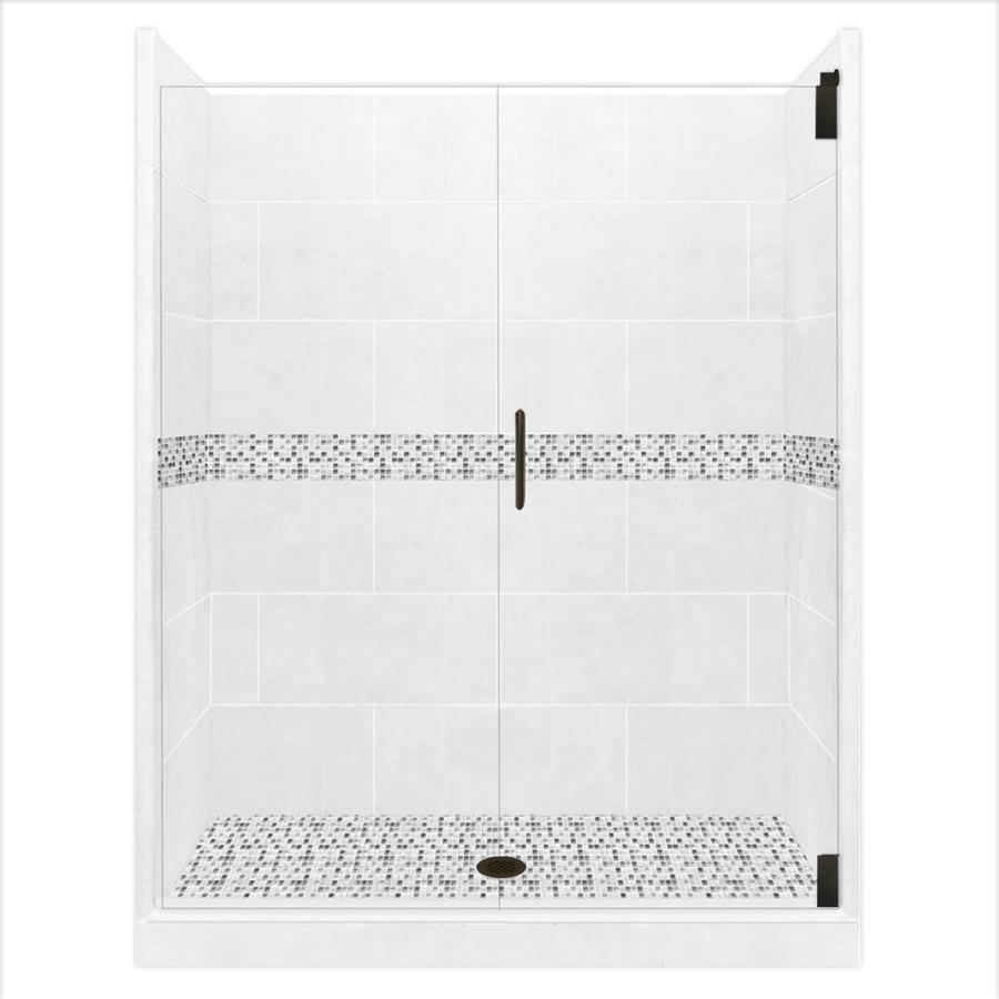 American Bath Factory Laguna Solid Surface Wall Stone Composite Floor 12-Piece Alcove Shower Kit (Common: 36-in x 48-in; Actual: 80-in x 36-in x 48-in)