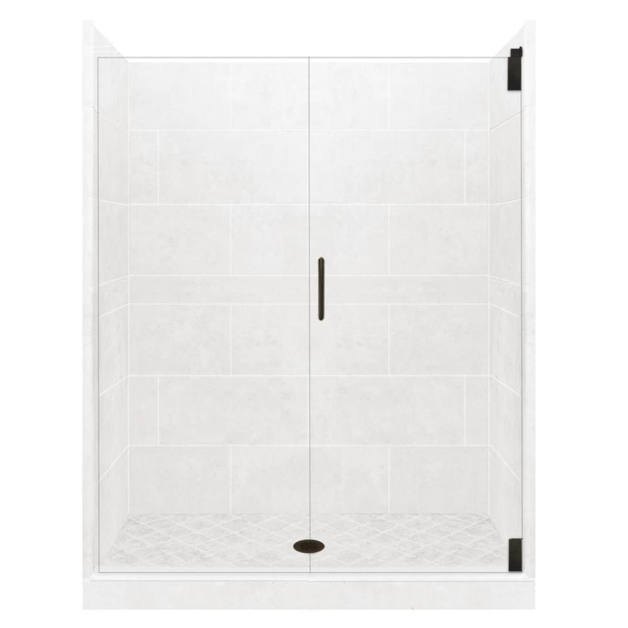 American Bath Factory Light Solid Surface Wall Stone Composite Floor 12-Piece Alcove Shower Kit (Common: 42-in x 48-in; Actual: 80-in x 42-in x 48-in)