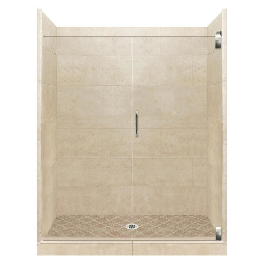 American Bath Factory Sonoma Medium Solid Surface Wall Stone Composite Floor 12-Piece Alcove Shower Kit (Common: 36-in x 48-in; Actual: 80-in x 36-in x 48-in)