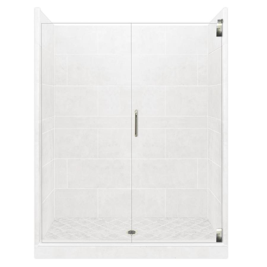 American Bath Factory Monterey Light Solid Surface Wall Stone Composite Floor 12-Piece Alcove Shower Kit (Common: 36-in x 48-in; Actual: 80-in X