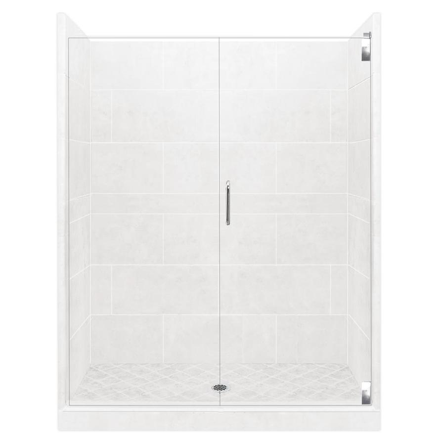 American Bath Factory Monterey Light Solid Surface Wall Stone Composite Floor 12-Piece Alcove Shower Kit (Common: 36-in x 54-in; Actual: 80-in X