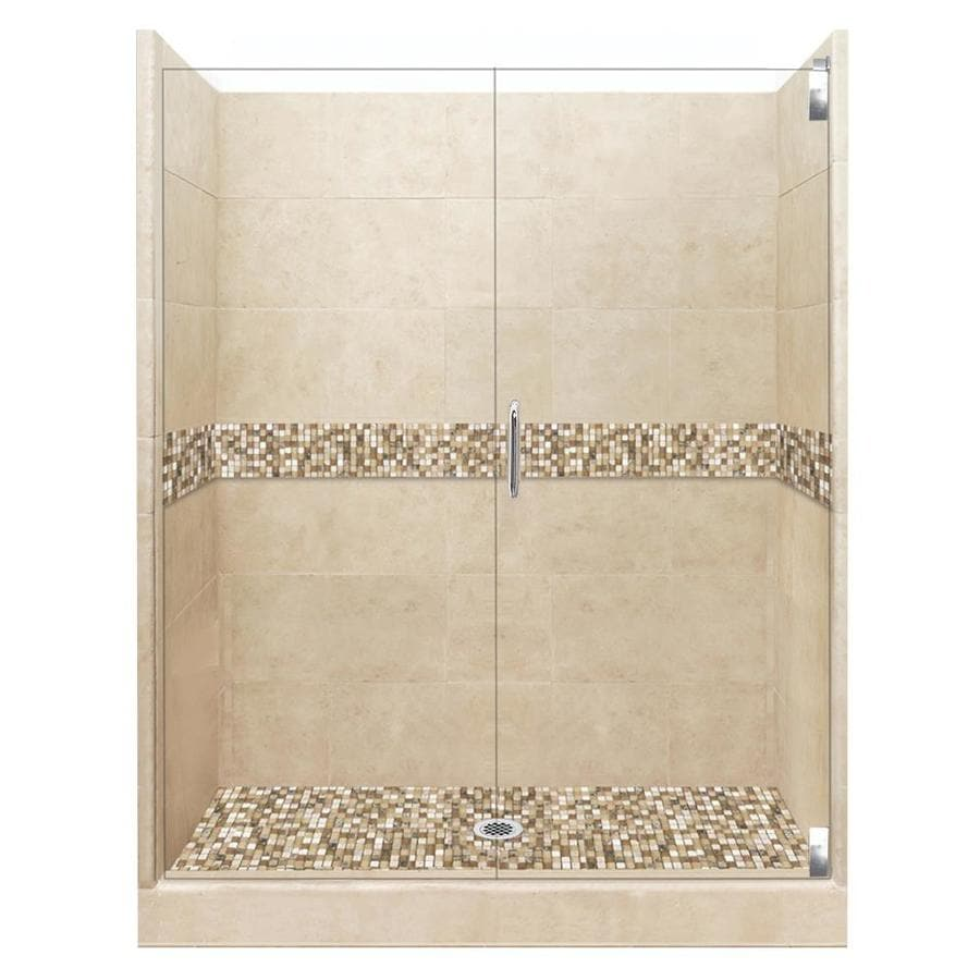 American Bath Factory Mesa Medium with Mesa Mosaic Tiles Solid Surface Wall Stone Composite Floor 12-Piece Alcove Shower Kit (Common: 42-in x 54-in; Actual: 80-in X