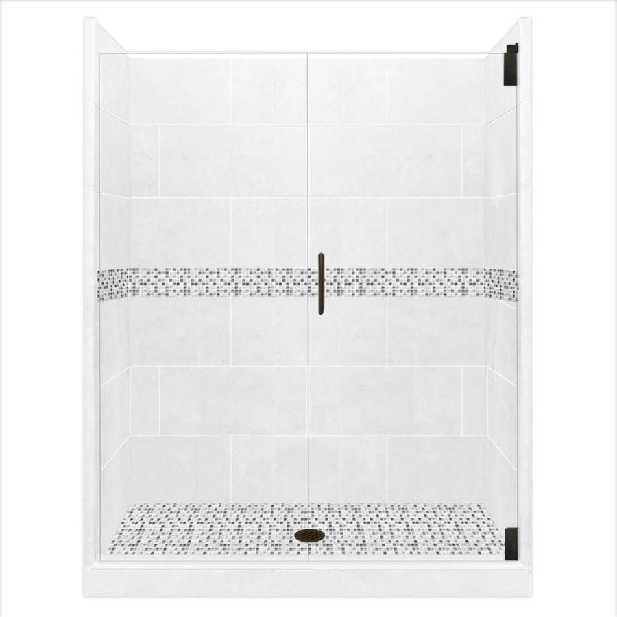 American Bath Factory Laguna Solid Surface Wall Stone Composite Floor 12-Piece Alcove Shower Kit (Common: 36-in x 54-in; Actual: 80-in x 36-in x 54-in)