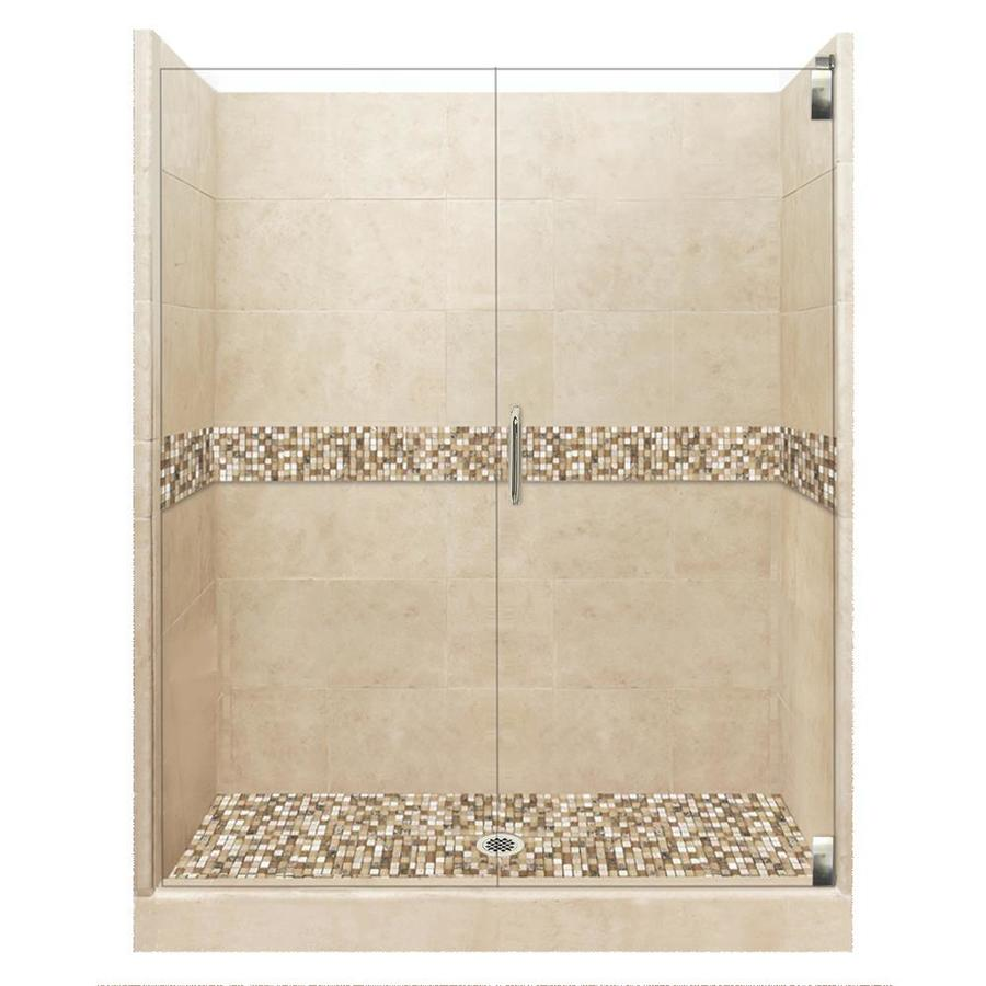 American Bath Factory Mesa Medium with Mesa Mosaic Tiles Solid Surface Wall Stone Composite Floor 12-Piece Alcove Shower Kit (Common: 36-in x 54-in; Actual: 80-in X