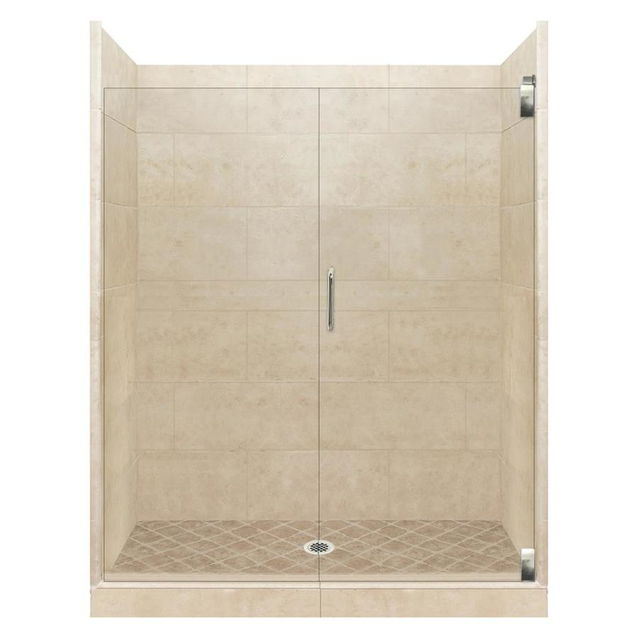 American Bath Factory Sonoma Medium Solid Surface Wall Stone Composite Floor 12-Piece Alcove Shower Kit (Common: 42-in x 54-in; Actual: 80-in X