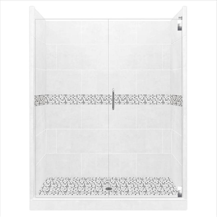 American Bath Factory Laguna Light with Laguna Mosaic Tiles Solid Surface Wall Stone Composite Floor 12-Piece Alcove Shower Kit (Common: 30-in x 60-in; Actual: 80-in X