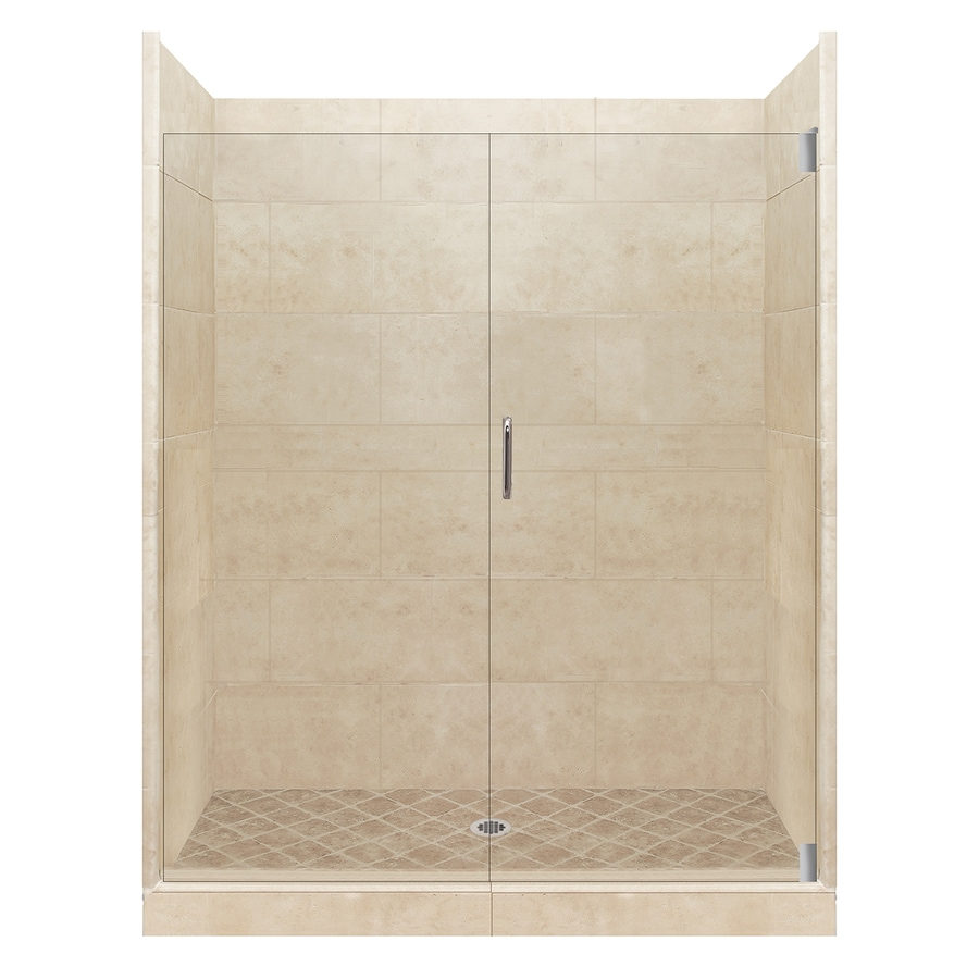American Bath Factory Sonoma Medium Solid Surface Wall Stone Composite Floor 12-Piece Alcove Shower Kit (Common: 32-in x 60-in; Actual: 80-in x 32-in x 60-in)