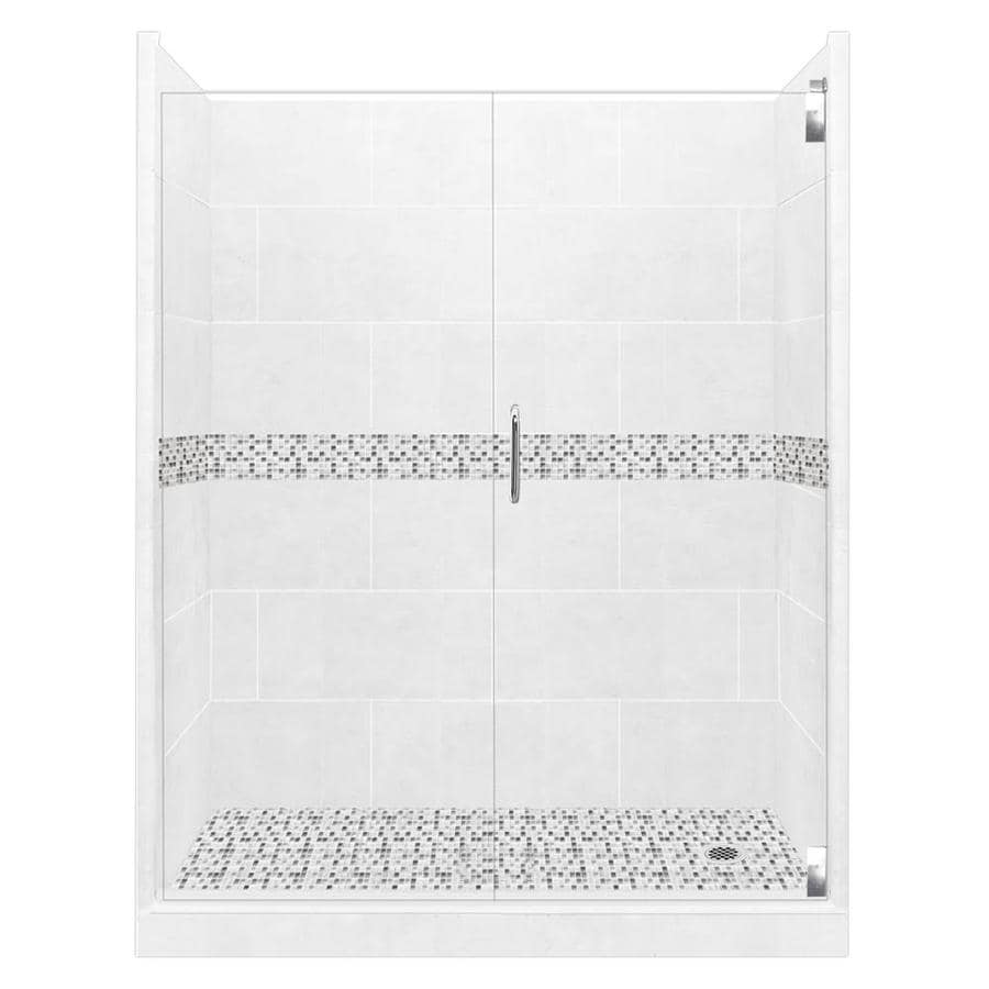 American Bath Factory Laguna Light with laguna mosaic tiles 12-Piece Alcove Shower Kit (Common: 36-in x 60-in; Actual: 80-in x 36-in x 60-in)
