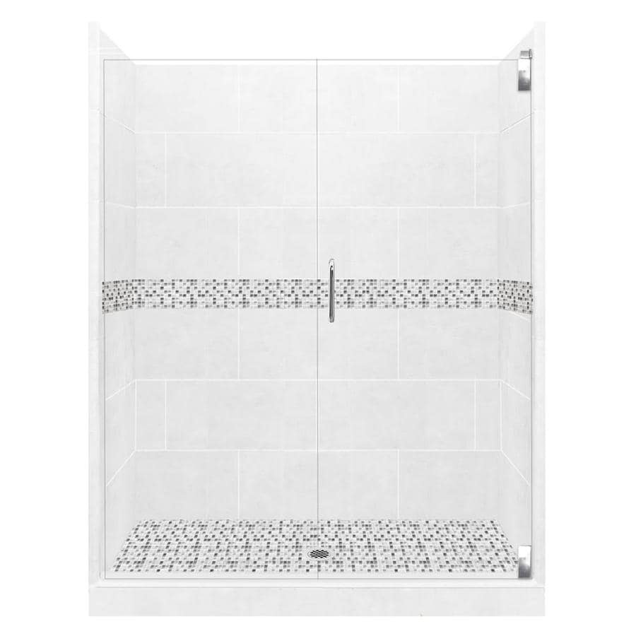 American Bath Factory Laguna Light with Laguna Mosaic Tiles Solid Surface Wall Stone Composite Floor 12-Piece Alcove Shower Kit (Common: 42-in x 60-in; Actual: 80-in X