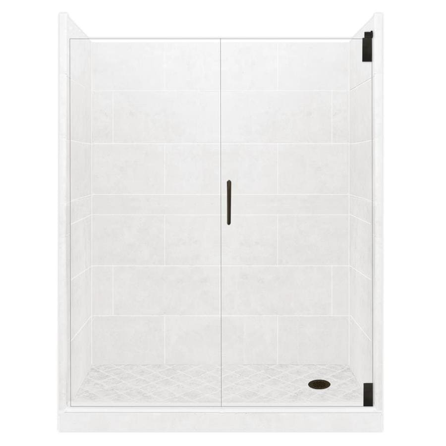American Bath Factory Light Solid Surface Wall Stone Composite Floor 12-Piece Alcove Shower Kit (Common: 30-in x 60-in; Actual: 80-in x 30-in x 60-in)