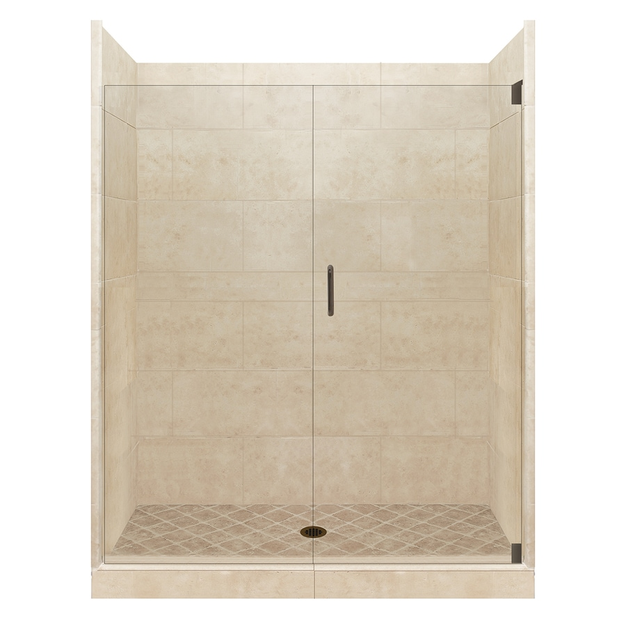 American Bath Factory Sonoma Medium Solid Surface Wall Stone Composite Floor 12-Piece Alcove Shower Kit (Common: 36-in x 60-in; Actual: 80-in X