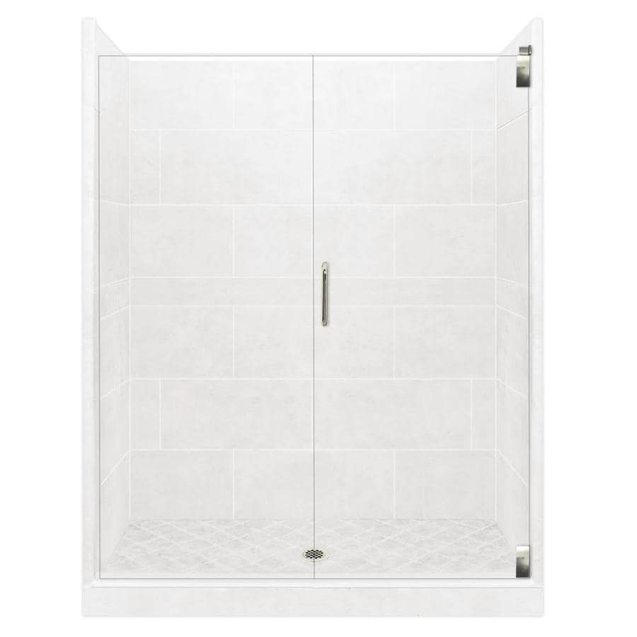 American Bath Factory Monterey Light Solid Surface Wall Stone Composite Floor 12-Piece Alcove Shower Kit (Common: 32-in x 60-in; Actual: 80-in X