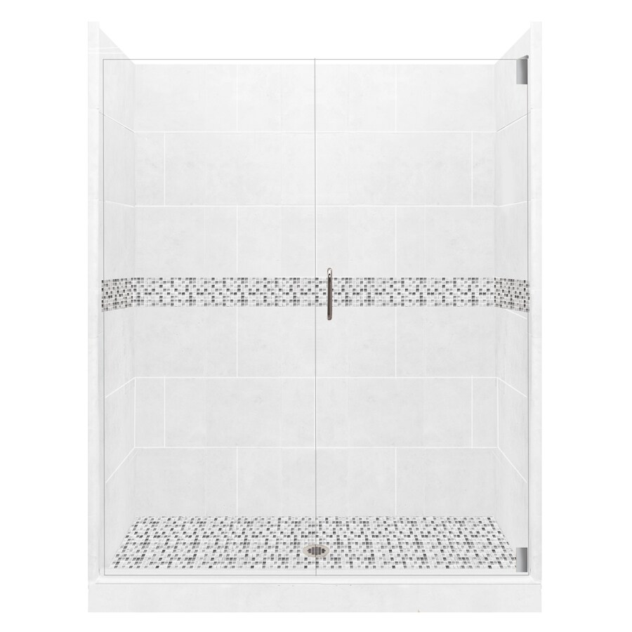 American Bath Factory Laguna Solid Surface Wall Stone Composite Floor 12-Piece Alcove Shower Kit (Common: 36-in x 60-in; Actual: 80-in x 36-in x 60-in)