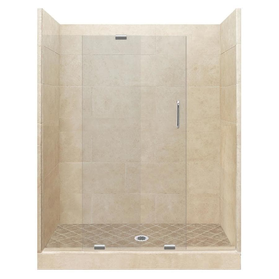 American Bath Factory Sonoma Medium Solid Surface Wall Stone Composite Floor 12-Piece Alcove Shower Kit (Common: 30-in x 60-in; Actual: 80-in X