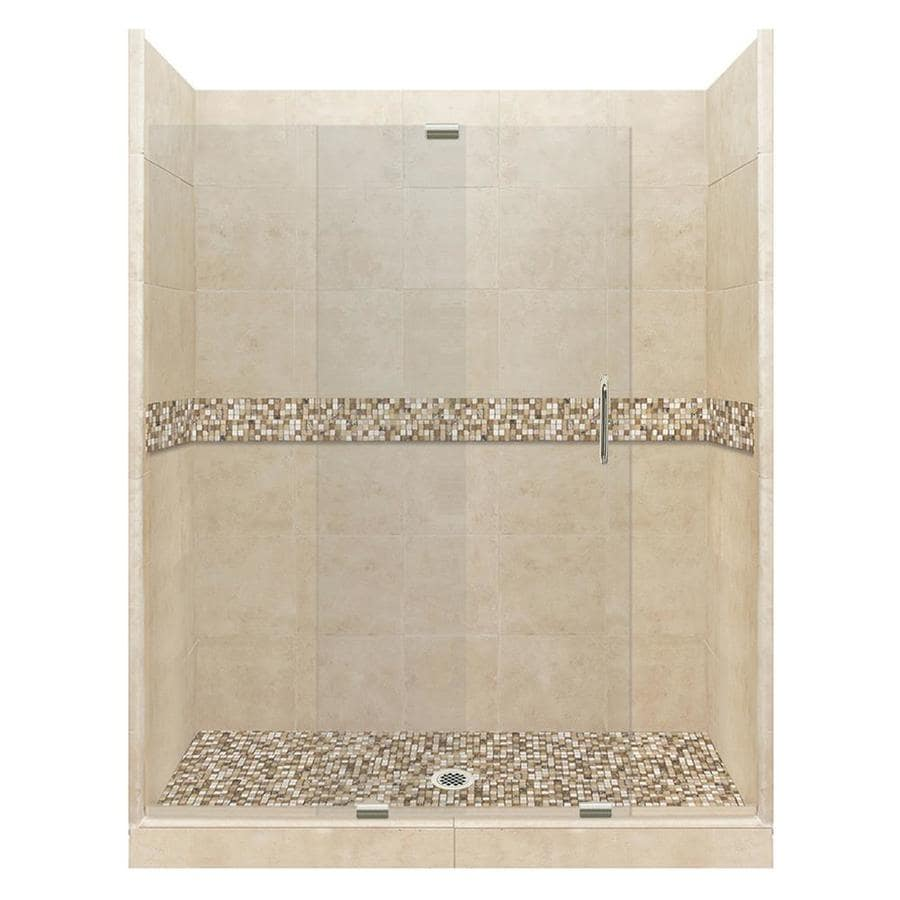 American Bath Factory Mesa Solid Surface Wall Stone Composite Floor 12-Piece Alcove Shower Kit (Common: 30-in x 60-in; Actual: 80-in x 30-in x 60-in)