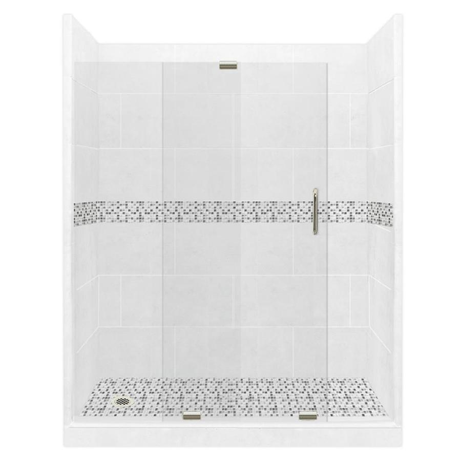 American Bath Factory Laguna Solid Surface Wall Stone Composite Floor 12-Piece Alcove Shower Kit (Common: 30-in x 60-in; Actual: 80-in x 30-in x 60-in)