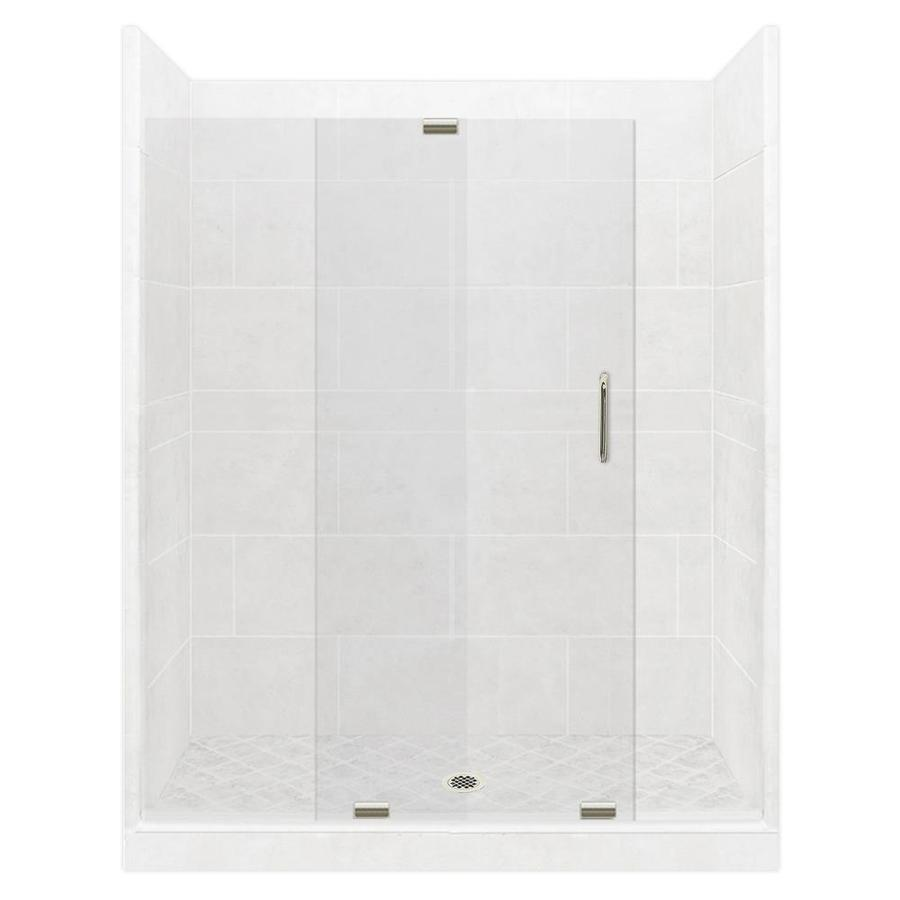 American Bath Factory Monterey Light Solid Surface Wall and Stone Composite Floor 12-Piece Alcove Shower Kit (Common: 32-in x 60-in; Actual: 80-in x 32-in x 60-in)