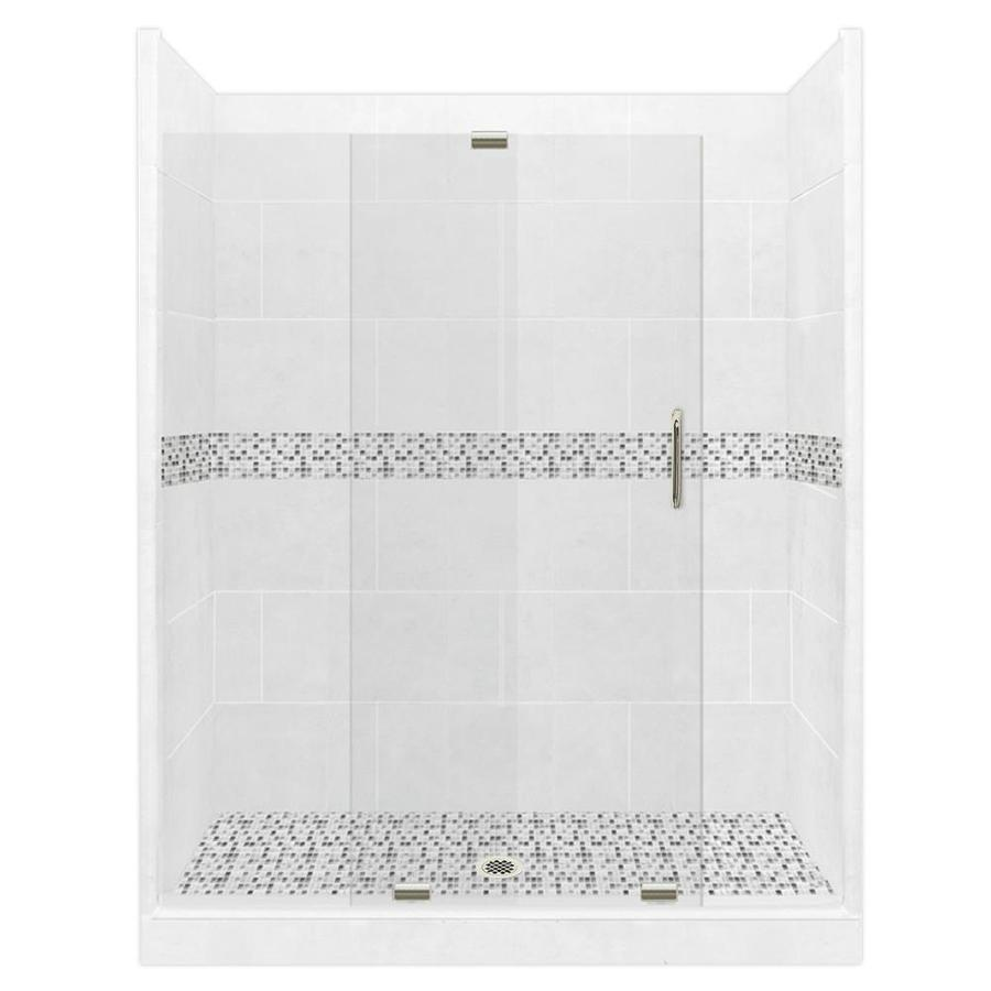 American Bath Factory Laguna Solid Surface Wall Stone Composite Floor 12-Piece Alcove Shower Kit (Common: 32-in x 60-in; Actual: 80-in x 32-in x 60-in)