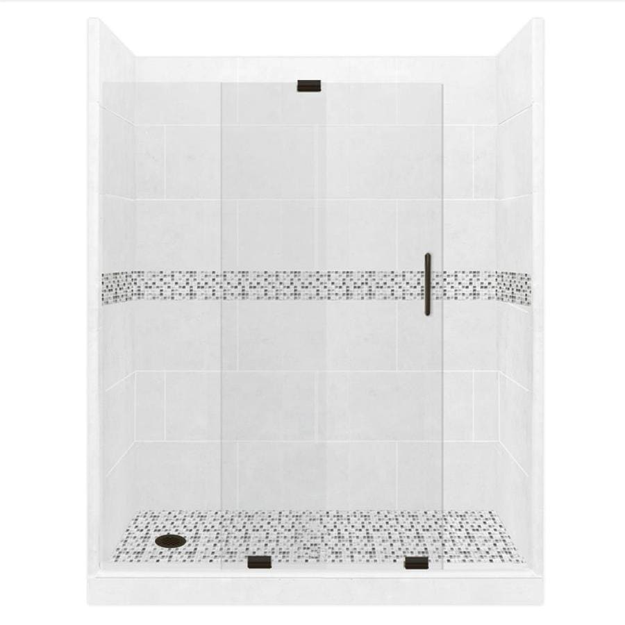American Bath Factory Laguna Light with Laguna Mosaic Tiles Solid Surface Wall Stone Composite Floor 12-Piece Alcove Shower Kit (Common: 32-in x 60-in; Actual: 80-in X