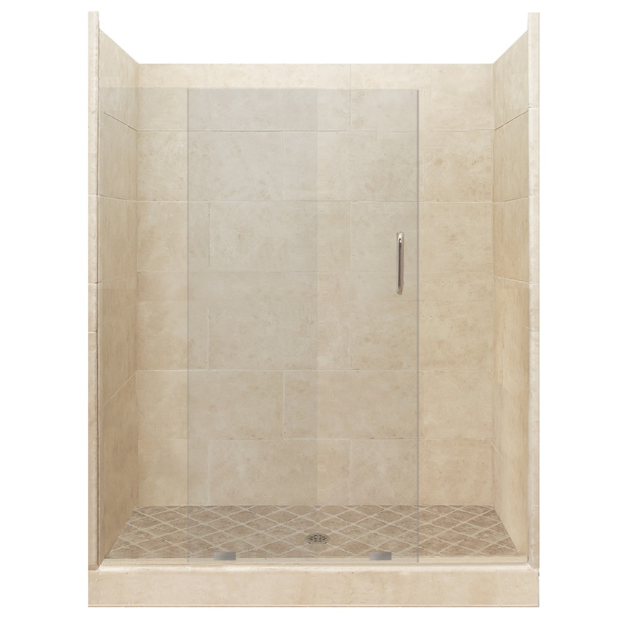 American Bath Factory Sonoma Medium Solid Surface Wall Stone Composite Floor 12-Piece Alcove Shower Kit (Common: 34-in x 60-in; Actual: 80-in x 34-in x 60-in)