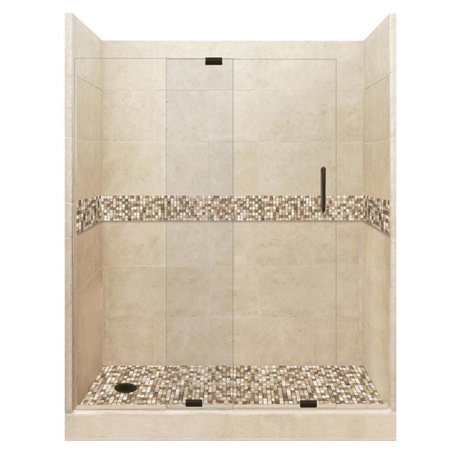 American Bath Factory Mesa Solid Surface Wall Stone Composite Floor 12-Piece Alcove Shower Kit (Common: 34-in x 60-in; Actual: 80-in x 34-in x 60-in)