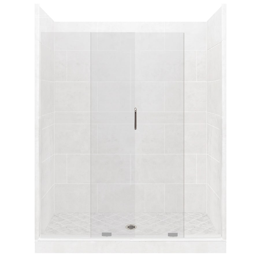 American Bath Factory Light Solid Surface Wall Stone Composite Floor 12-Piece Alcove Shower Kit (Common: 36-in x 60-in; Actual: 80-in x 36-in x 60-in)