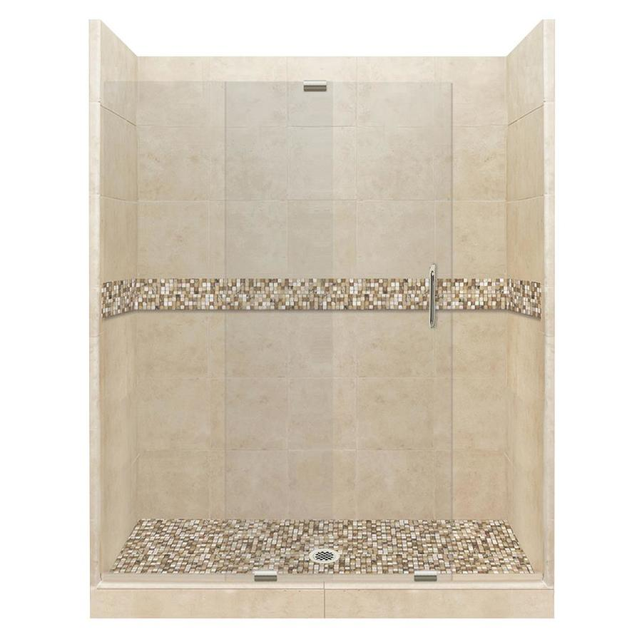American Bath Factory Mesa Solid Surface Wall Stone Composite Floor 12-Piece Alcove Shower Kit (Common: 36-in x 60-in; Actual: 80-in x 36-in x 60-in)