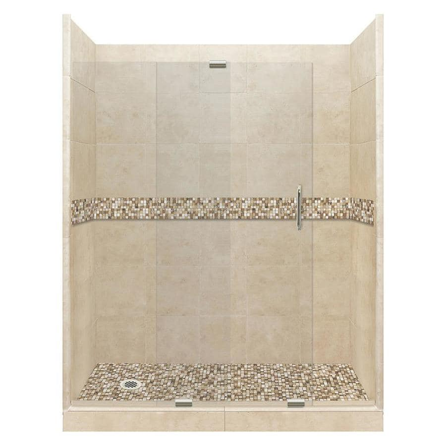 American Bath Factory Mesa Medium with Mesa Mosaic Tiles Solid Surface Wall Stone Composite Floor 12-Piece Alcove Shower Kit (Common: 36-in x 60-in; Actual: 80-in X