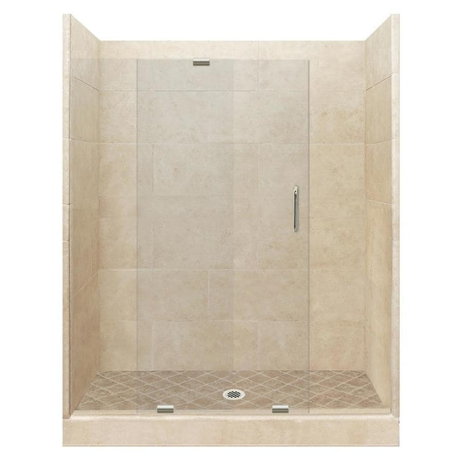 American Bath Factory Sonoma Medium Solid Surface Wall Stone Composite Floor 12-Piece Alcove Shower Kit (Common: 42-in x 60-in; Actual: 80-in x 42-in x 60-in)